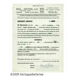 Brian Jones Signed Rolling Stones Contract. One o