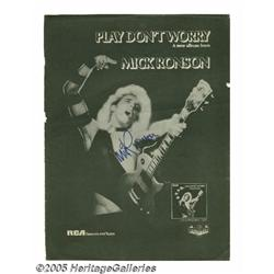 Mick Ronson Signed Ad. Full-page black-and-white