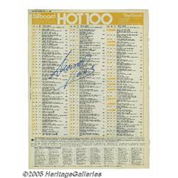 Diana Ross Signed Billboard Ad. Billboard Hot 1 D