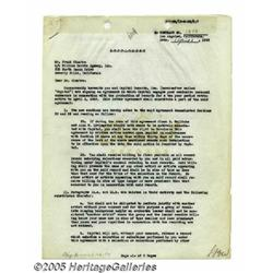 Early Frank Sinatra Signed Contract Supplement. A