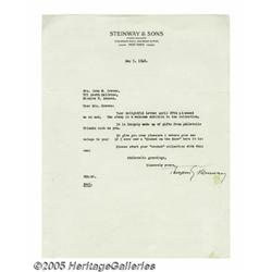 Theodore Steinway Signed Letter. Offered is a one