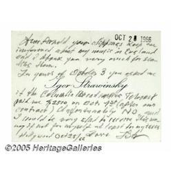 Igor Stravinsky Handwritten Note. No other compos