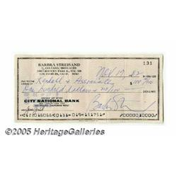 Barbra Streisand Signed Check (1982). A signed ch