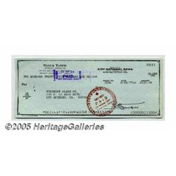 Bernie Taupin Signed Check. A signed check writte