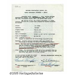 Sarah Vaughan Signed Contract. A double-sided, on