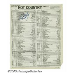 Keith Whitley Signed Billboard Chart. Billboard K