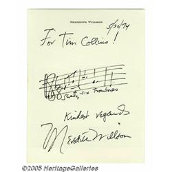 Meredith Wilson Signed Music Quote. Active in mus