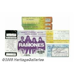 Five Ramones Ticket Stubs (One Signed). Featured