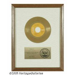 """Elvis """"In the Ghetto"""" Gold Record Single Award. P"""