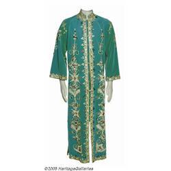 Elvis Presley Green Jewelled Kaftan Robe. Feature