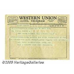 Col. Tom Parker Telegram. A Western Union telegra