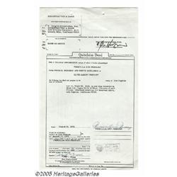 Priscilla Presley Signed Document. Priscilla Beau
