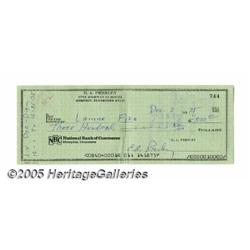 Elvis Presley Signed Check. Featured here is a ch