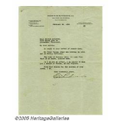 Edgar Rice Burroughs Signed Letter. Featured is a