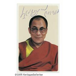 "Dalai Lama Signed Photograph. A 2"" x 3"" color pho"