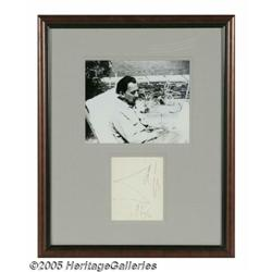 "Salvador Dali Autograph and Photograph. A 3"" x 5"""
