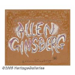 Allen Ginsberg Signed Fan Art. A paint-on-illustr