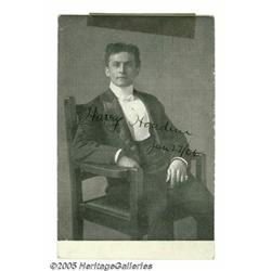 Harry Houdini Signed Postcard Portrait. A vintage