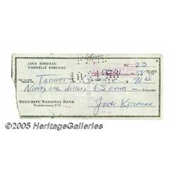Jack Kerouac Rare Personal Check. The writer of c