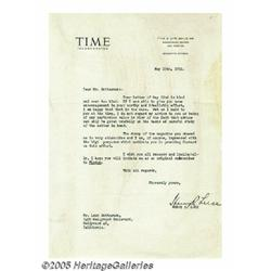 Henry R. Luce Signed Letter. Featured here is a t