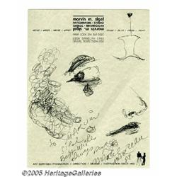 Marcel Marceau Signed Sketch. Born in Strasbourg,