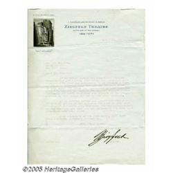 Flo Ziegfeld Signed Letter. Theatrical producer F