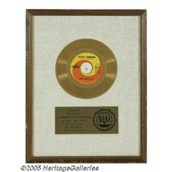"""Beatles """"Yellow Submarine"""" Capitol Gold Record Aw"""