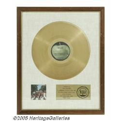 """Beatles """"Abbey Road"""" Gold Sales Award. The plaque"""