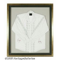 Ringo Starr Signed Shirt. White shirt with black