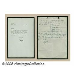 George Harrison Handwritten Letter. Featured is a