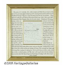 John Lennon Elephant's Memory Letter. Shortly aft