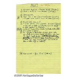 John Lennon Personal Notes. Offered is a sheet of