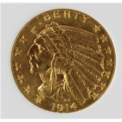 1914 $5 INDIAN GOLD