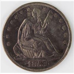 1853 ARROWS & RAYS HALF DOLLAR