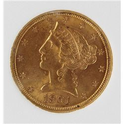 1901 $5 GOLD LIBERTY