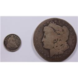 LOT OF TWO COINS- MORGAN DOLLAR AND HALF DIME