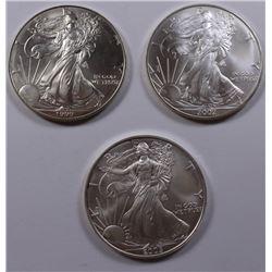 THREE AMERICAN SILVER EAGLES