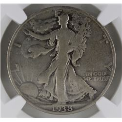 1938-D WALKING LIBERTY HALF DOLLAR