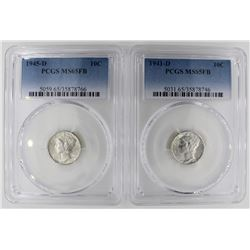 (2) PCGS GRADED MERCURY DIMES MS65FB