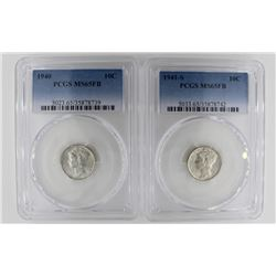 (2) PCGS GRADED MERCURY DIMES MS 65 FB