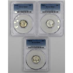 (3) PCGS MS65 GEM MERCURY DIMES