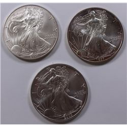 LOT OF THREE AMERICAN SILVER EAGLES