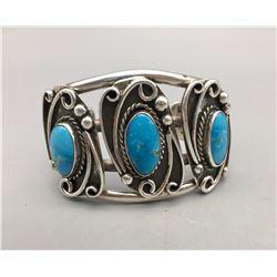 Vintage 3-stone Turquoise Bracelet