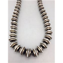 Unique Sterling Silver and Inlay Bead Necklace