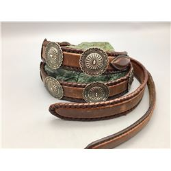 Nice, Leather Belt with Sterling Silver Conchos