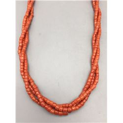 3 Strand Coral Trade Bead Necklace