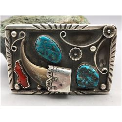 Vintage Turquoise, Coral and Claw Belt Buckle