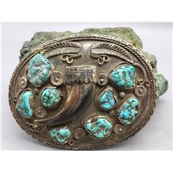 Vintage Turquoise and Claw Belt Buckle