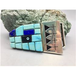 Unique Sterling Silver and Cobblestone Inlay Belt Buckle