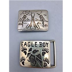 Two Sterling Silver Belt Buckles